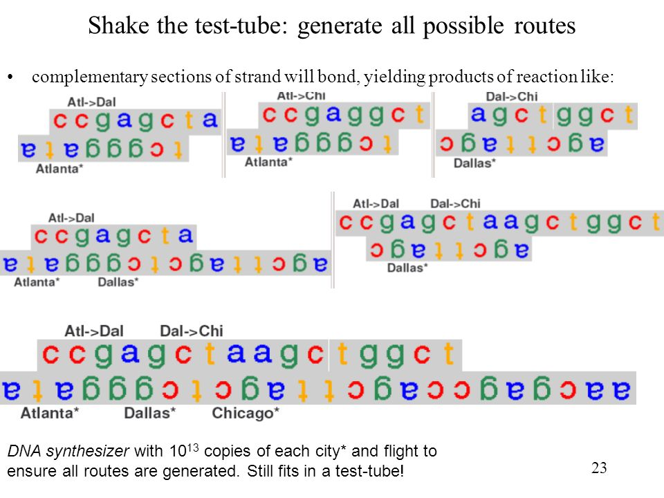 Shake the test-tube: generate all possible routes