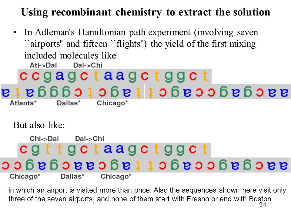 Using recombinant chemistry to extract the solution