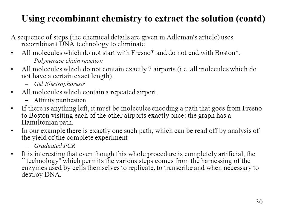 Using recombinant chemistry to extract the solution (contd)