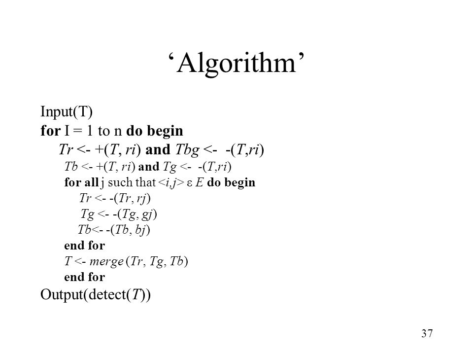 'Algorithm' Input(T) for I = 1 to n do begin