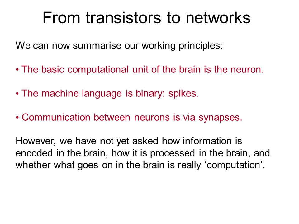From transistors to networks