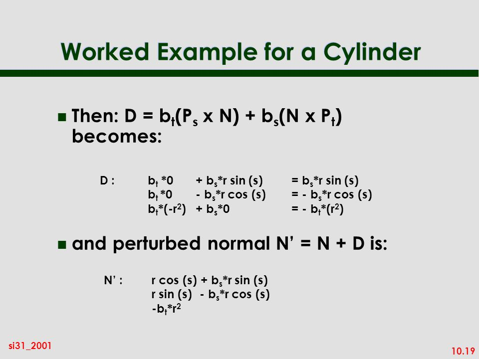 Worked Example for a Cylinder