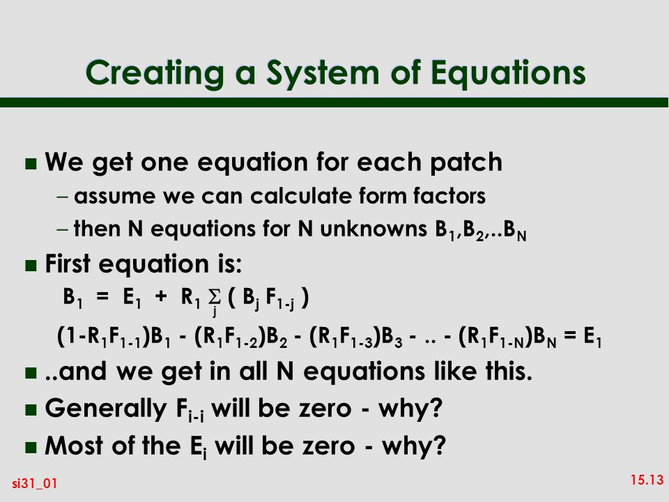 Creating a System of Equations