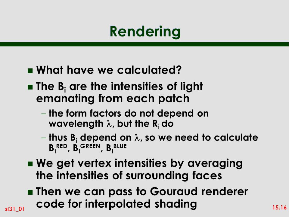Rendering What have we calculated