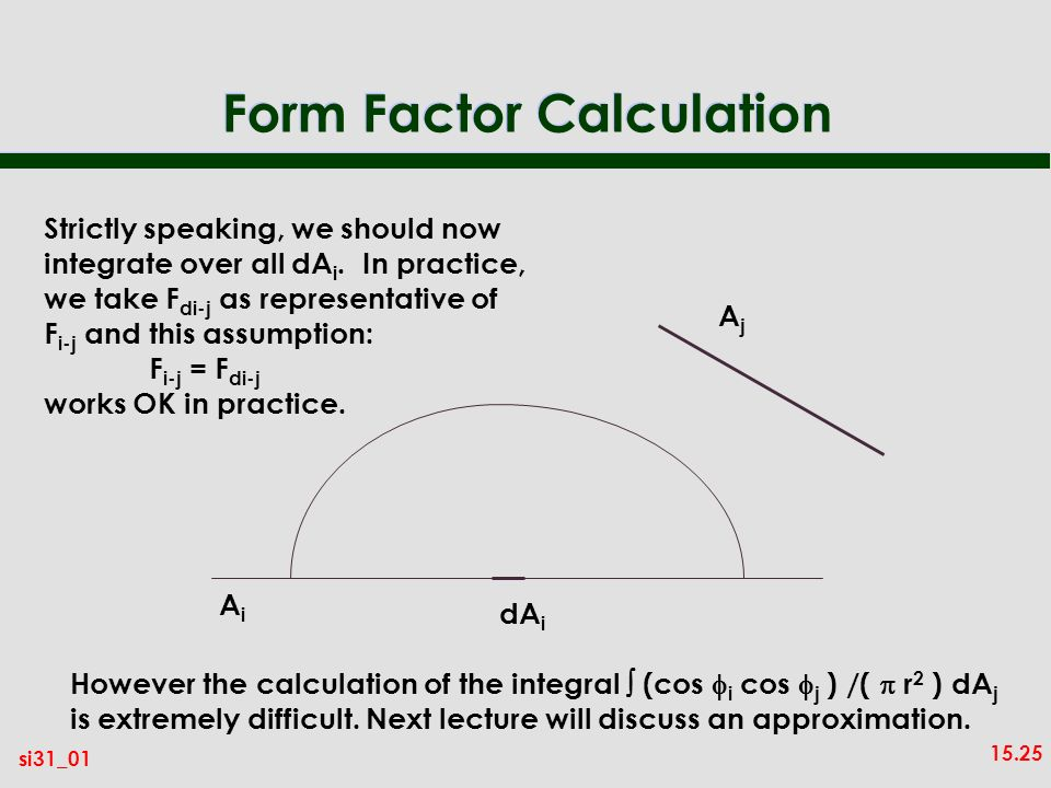 Form Factor Calculation