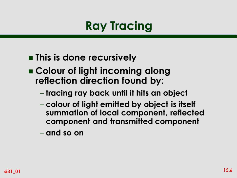 Ray Tracing This is done recursively