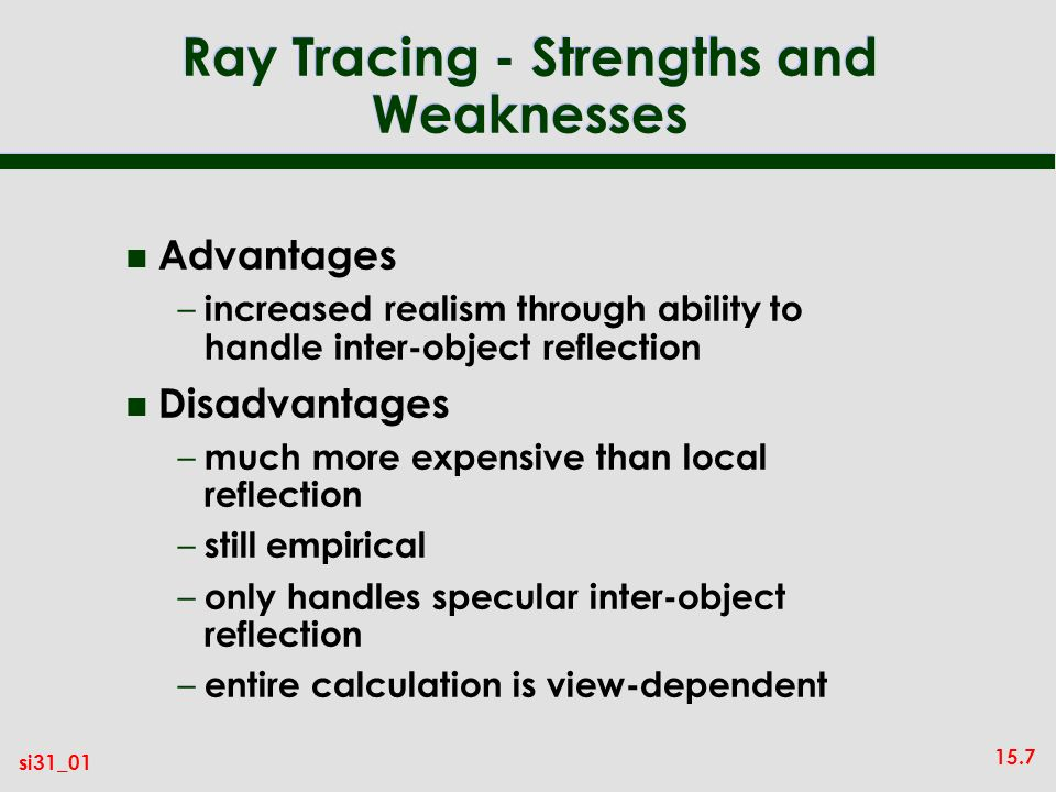 Ray Tracing - Strengths and Weaknesses