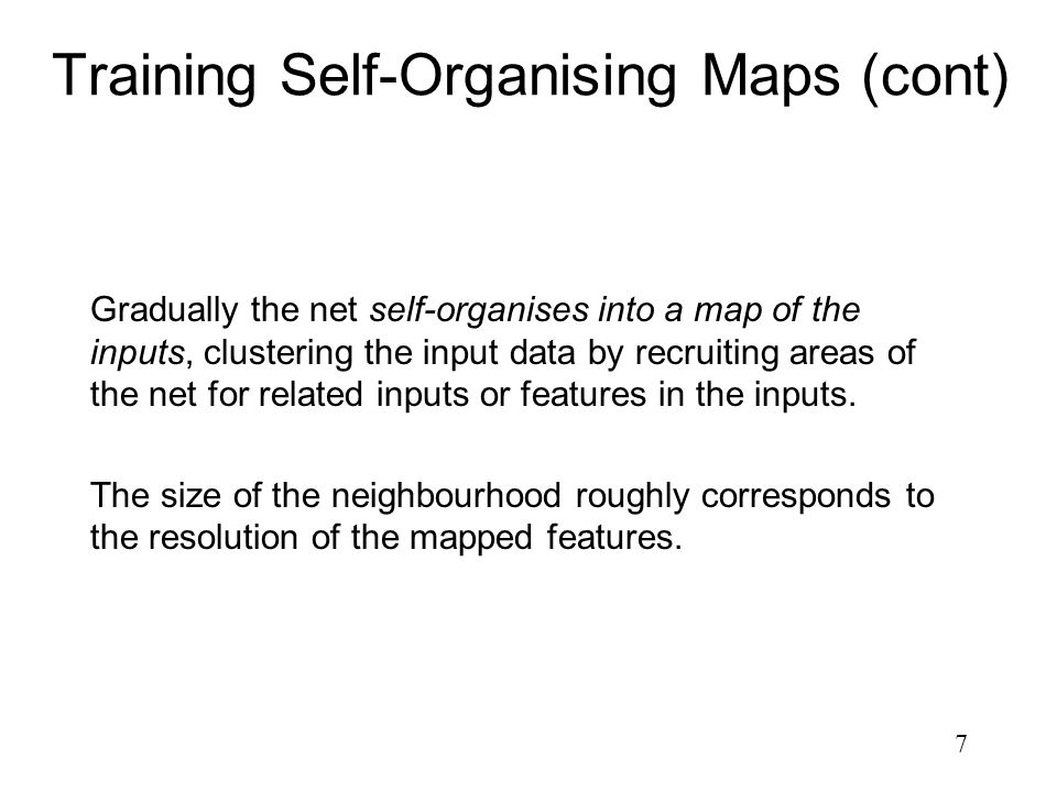 Training Self-Organising Maps (cont)