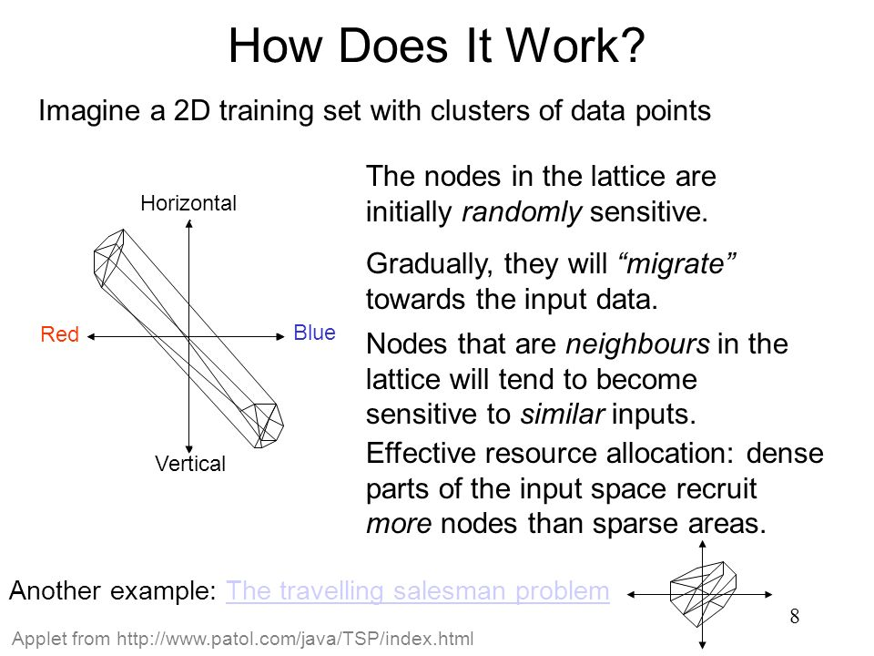 How Does It Work Imagine a 2D training set with clusters of data points. The nodes in the lattice are initially randomly sensitive.