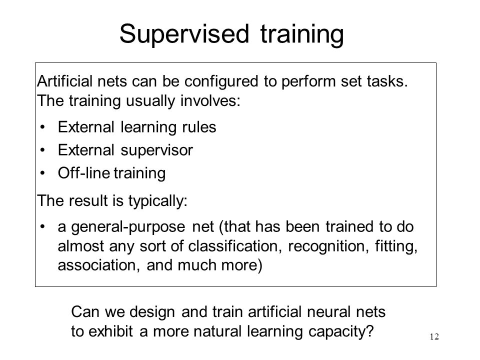Supervised training External learning rules. External supervisor. Off-line training.