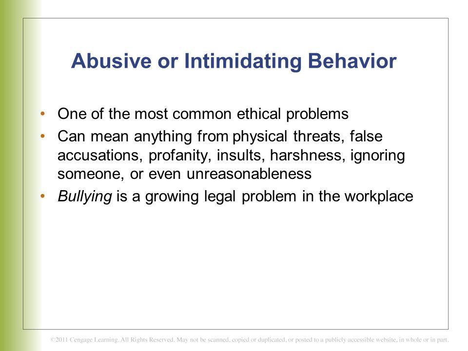 Examples of Bullying Behavior