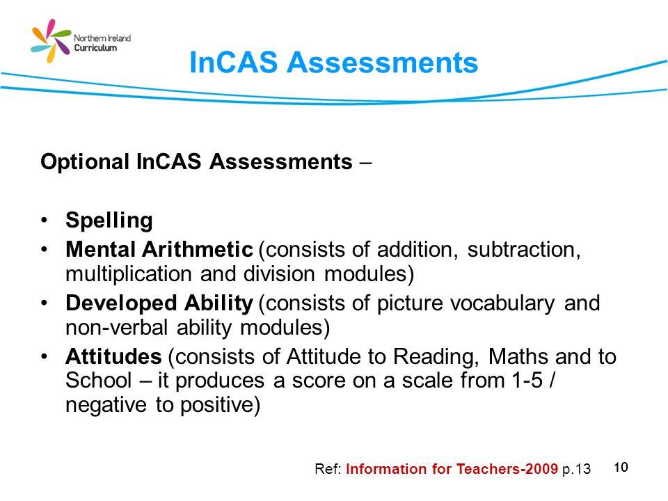 InCAS Assessments Optional InCAS Assessments – Spelling