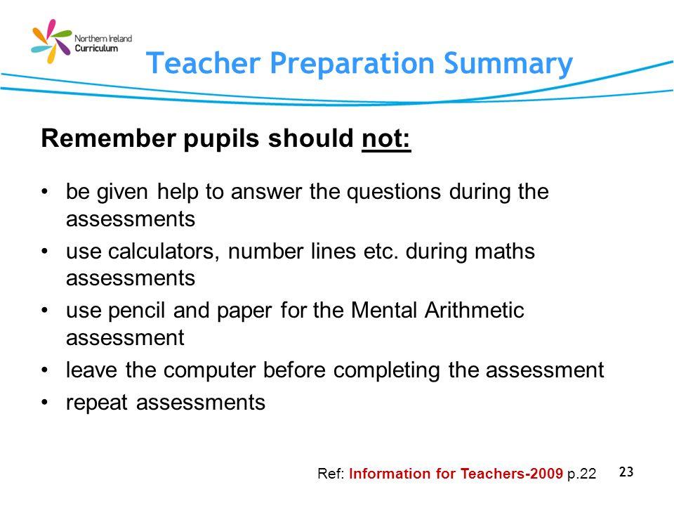 Teacher Preparation Summary