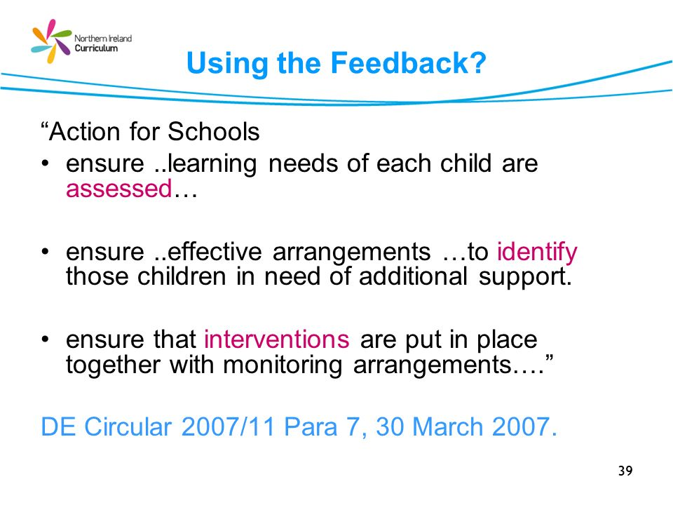 Using the Feedback Action for Schools