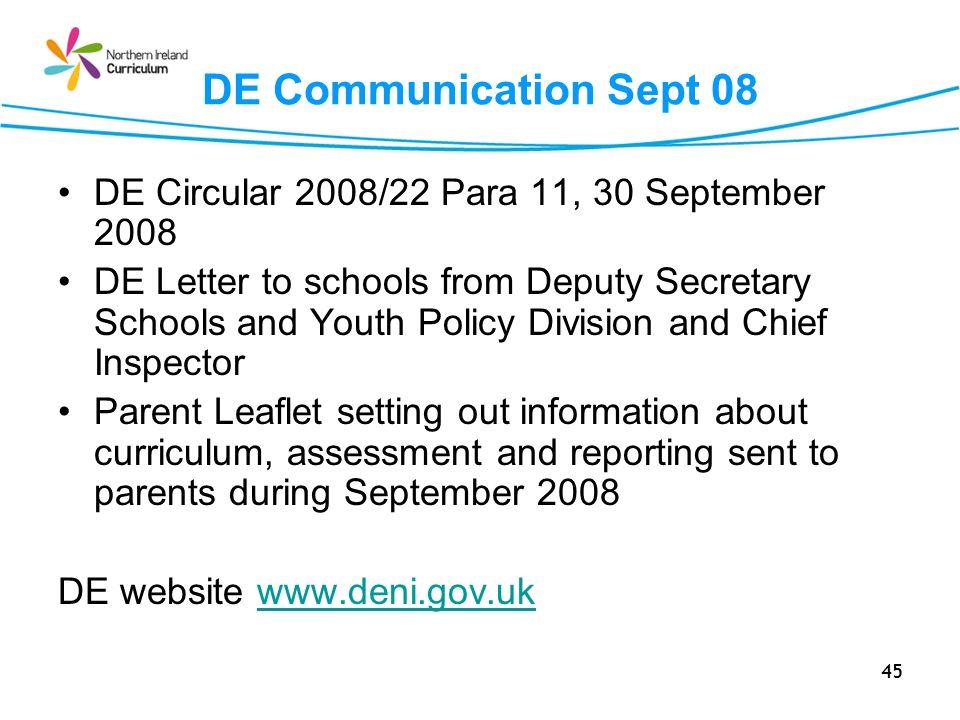 DE Communication Sept 08 DE Circular 2008/22 Para 11, 30 September 2008.