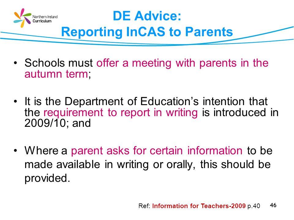 DE Advice: Reporting InCAS to Parents