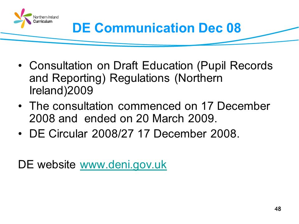 DE Communication Dec 08 Consultation on Draft Education (Pupil Records and Reporting) Regulations (Northern Ireland)2009.