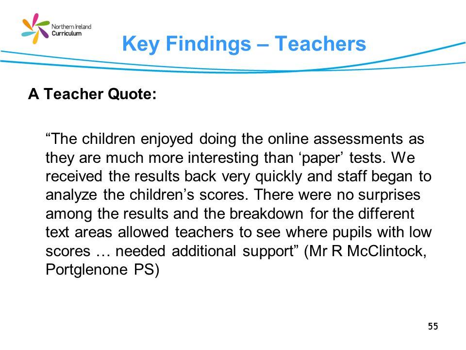 Key Findings – Teachers