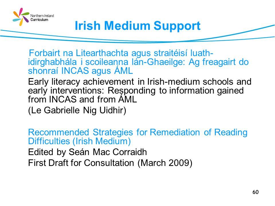 Irish Medium Support Forbairt na Litearthachta agus straitéisí luath-idirghabhála i scoileanna lán-Ghaeilge: Ag freagairt do shonraí INCAS agus ÁML.