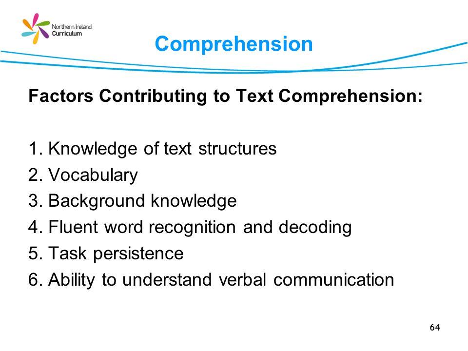 Comprehension Factors Contributing to Text Comprehension:
