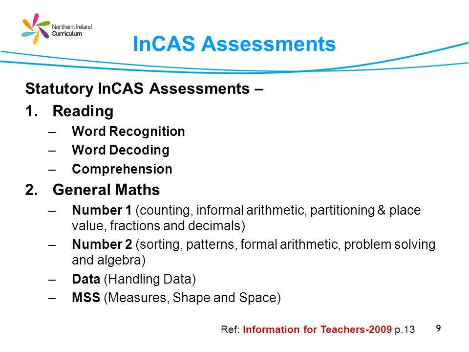 InCAS Assessments Statutory InCAS Assessments – Reading General Maths