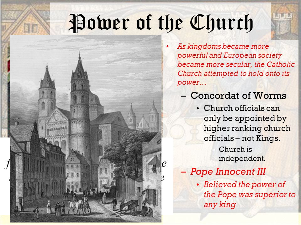 secular kings and the church during 1294-1303 boniface viii and philip the iv, king during boniface viii king of france, to expand the power of the church, and protect the church from secular.