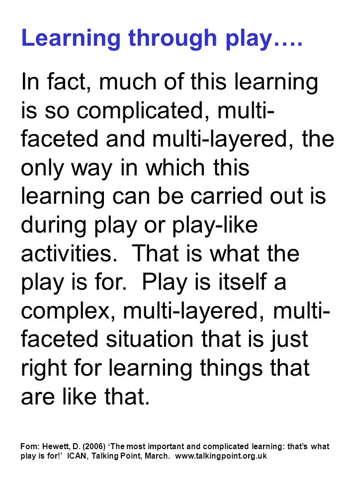 Learning through play….