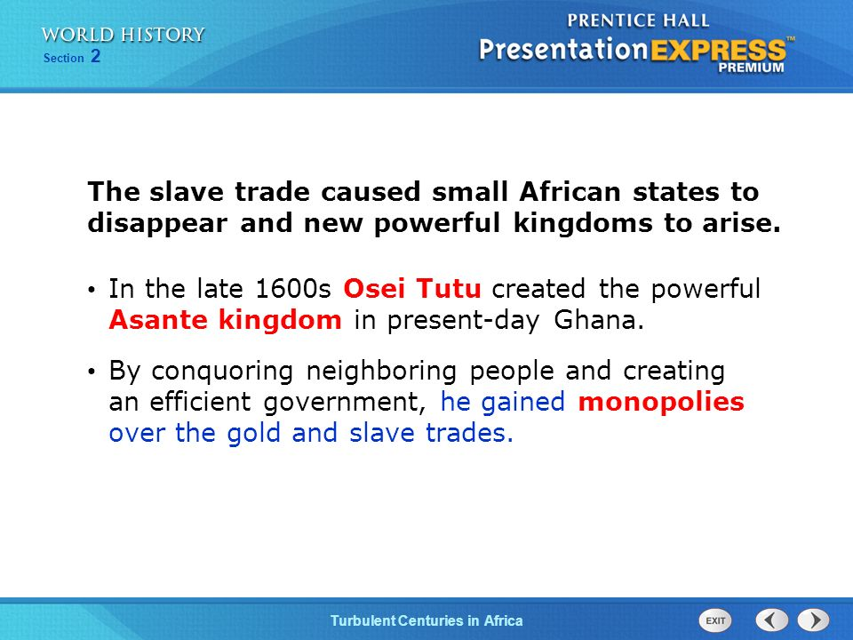 The slave trade caused small African states to disappear and new powerful kingdoms to arise.