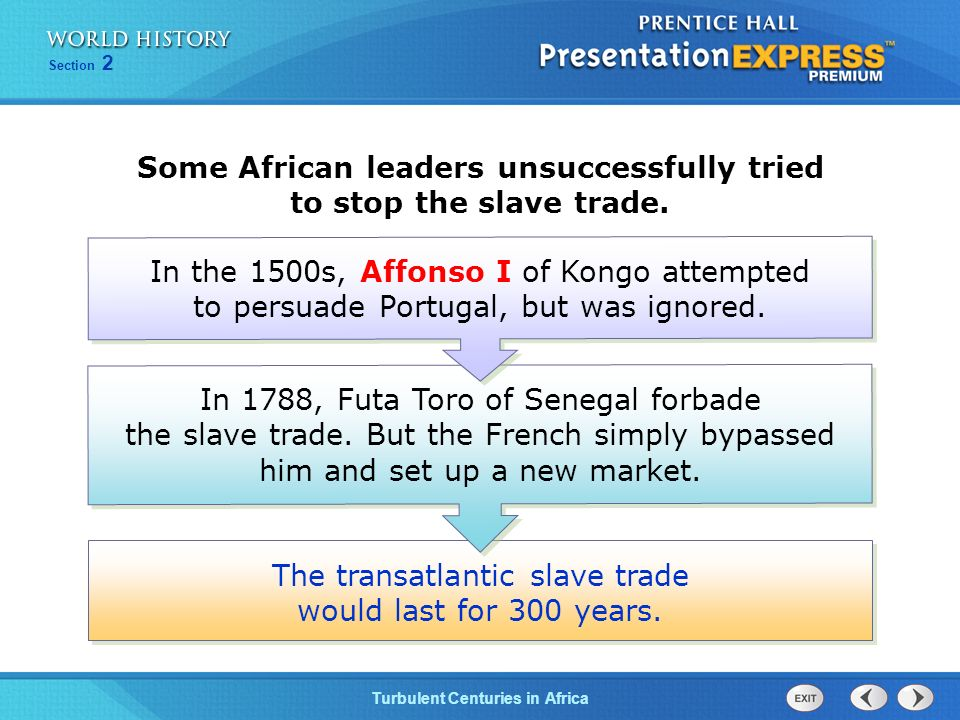 Some African leaders unsuccessfully tried to stop the slave trade.
