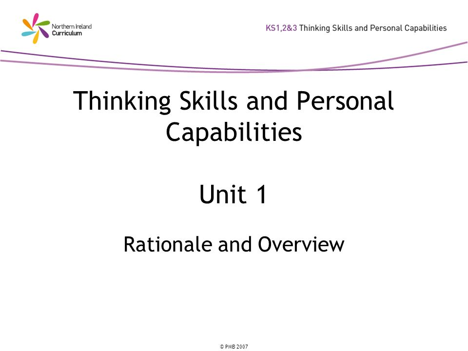 Thinking Skills and Personal Capabilities Unit 1