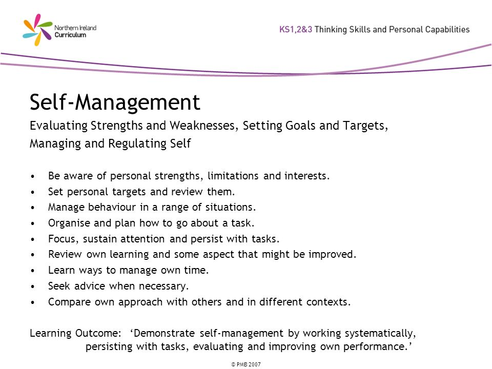 Self-Management Evaluating Strengths and Weaknesses, Setting Goals and Targets, Managing and Regulating Self.