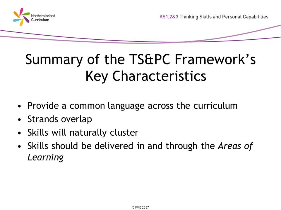 Summary of the TS&PC Framework's Key Characteristics