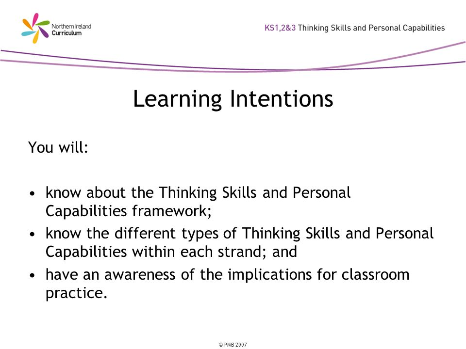 Learning Intentions You will: