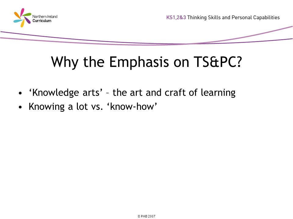 Why the Emphasis on TS&PC