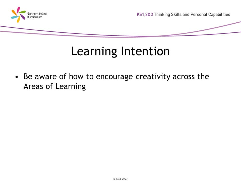 Learning Intention Be aware of how to encourage creativity across the Areas of Learning. This is the learning intention for this unit.
