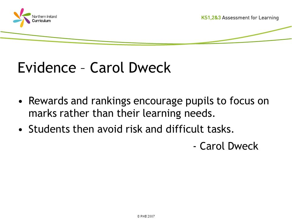 Evidence – Carol DweckRewards and rankings encourage pupils to focus on marks rather than their learning needs.
