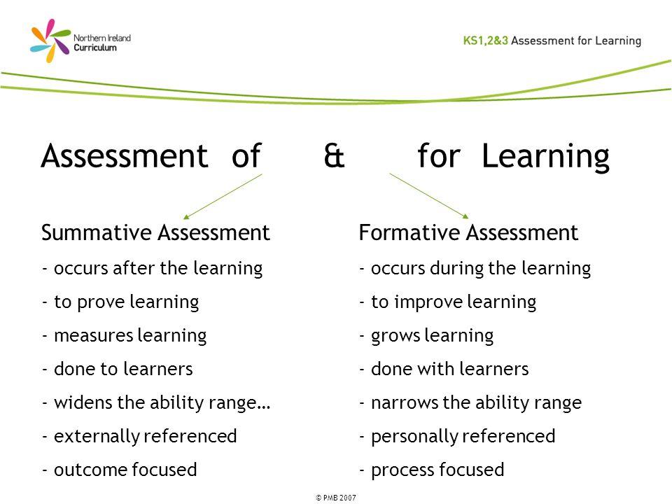 Assessment of & for Learning