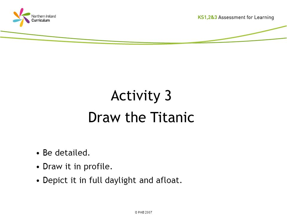 Activity 3 Draw the Titanic Be detailed. Draw it in profile.
