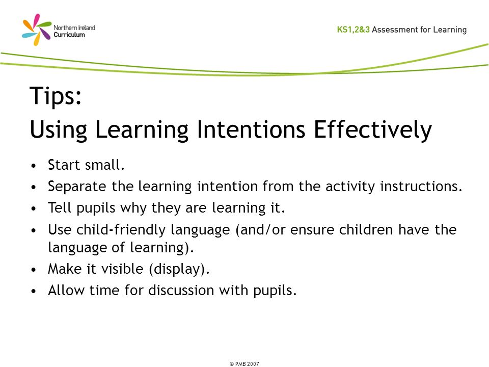 Tips: Using Learning Intentions Effectively