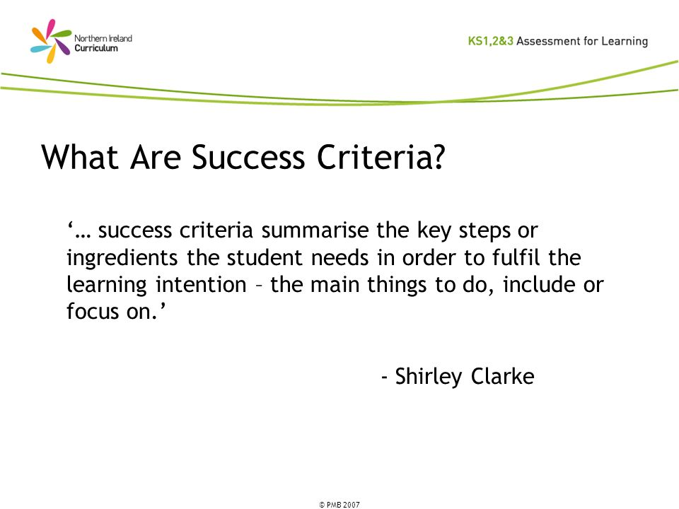 What Are Success Criteria
