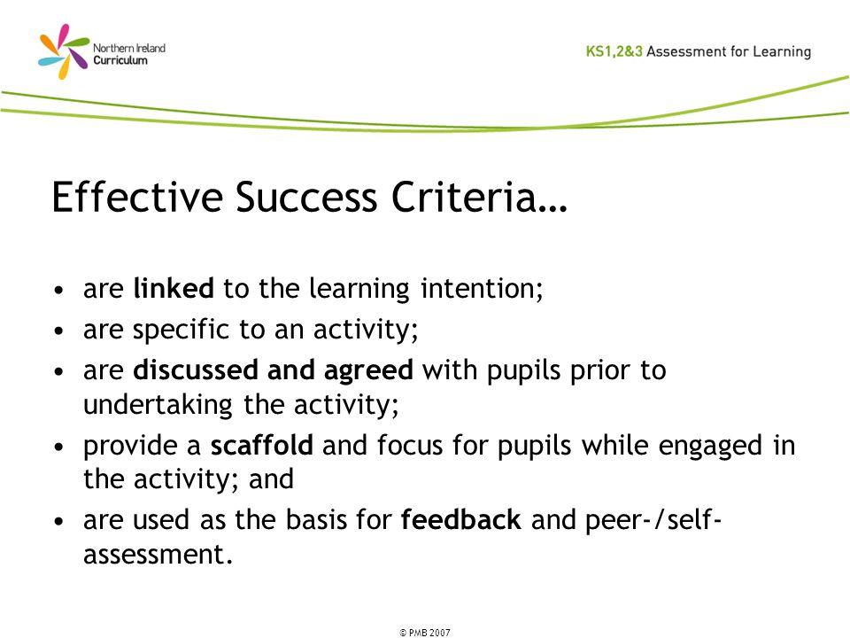 Effective Success Criteria…