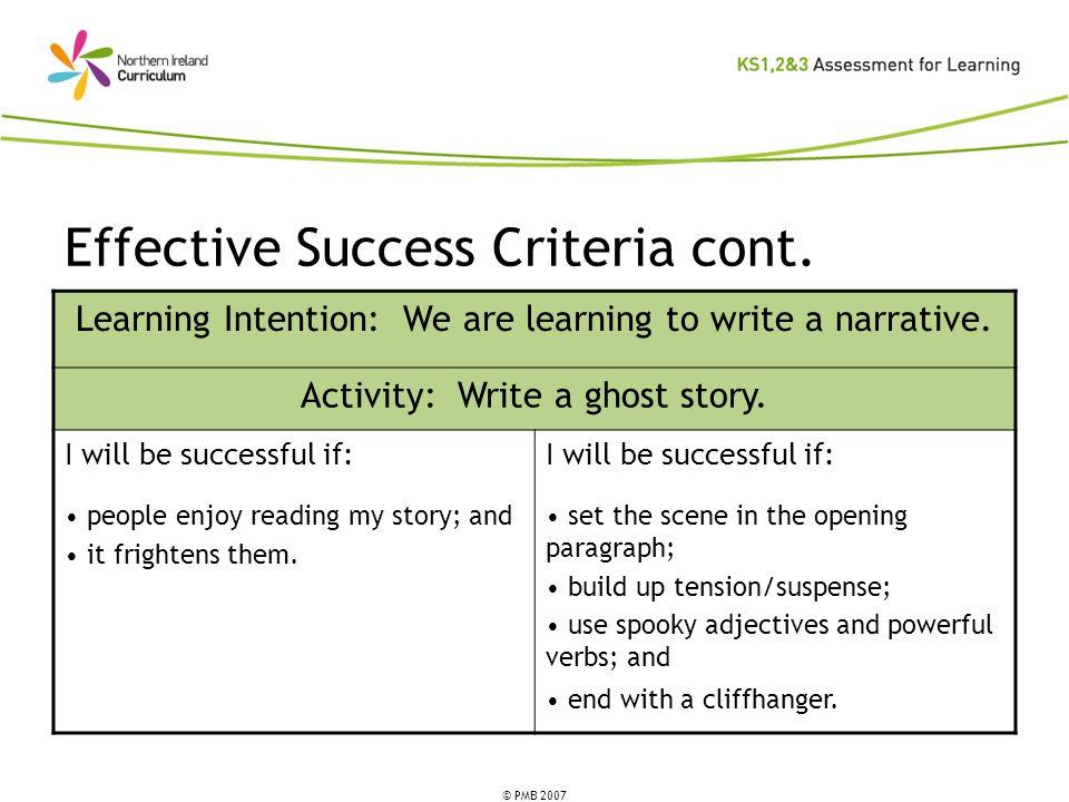 Effective Success Criteria cont.