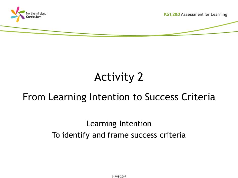 Activity 2 From Learning Intention to Success Criteria