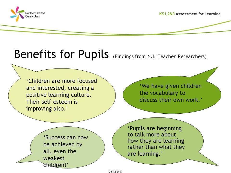 Benefits for Pupils (Findings from N.I. Teacher Researchers)