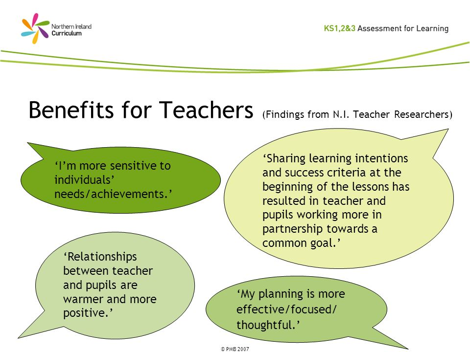 Benefits for Teachers (Findings from N.I. Teacher Researchers)