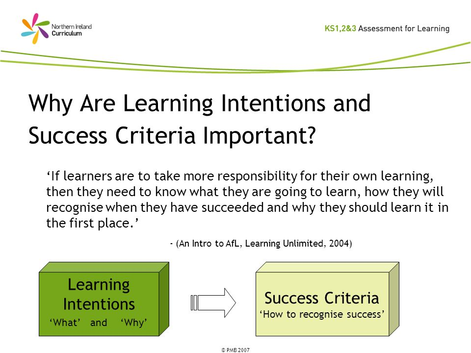 Why Are Learning Intentions and Success Criteria Important