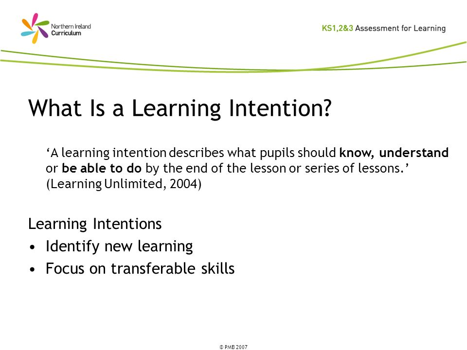 What Is a Learning Intention