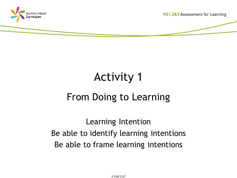 Activity 1 From Doing to Learning Learning Intention