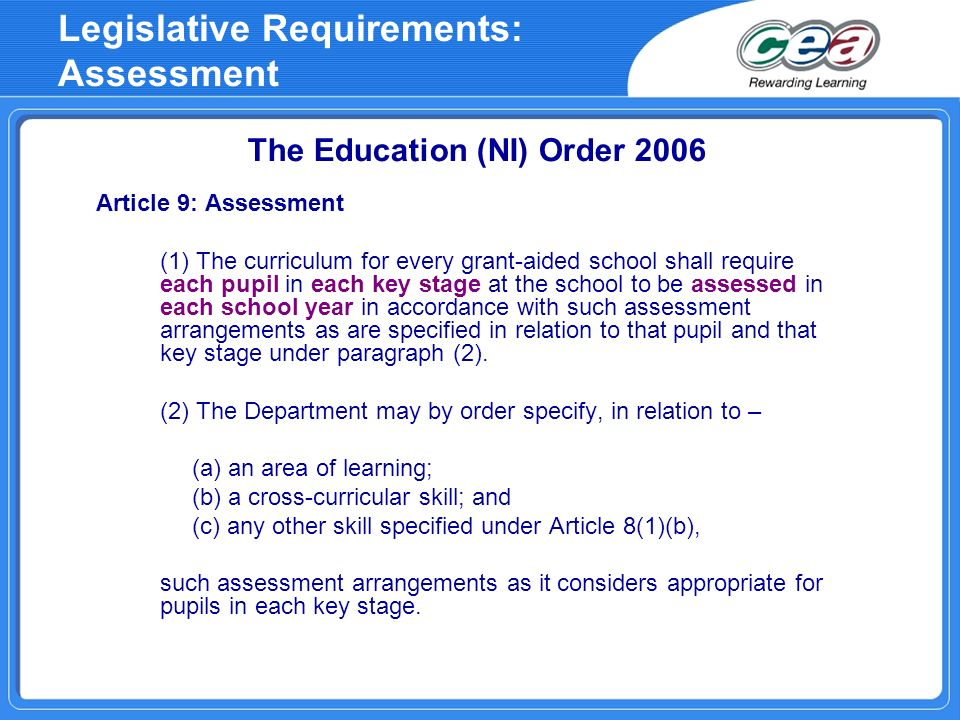 Legislative Requirements: Assessment