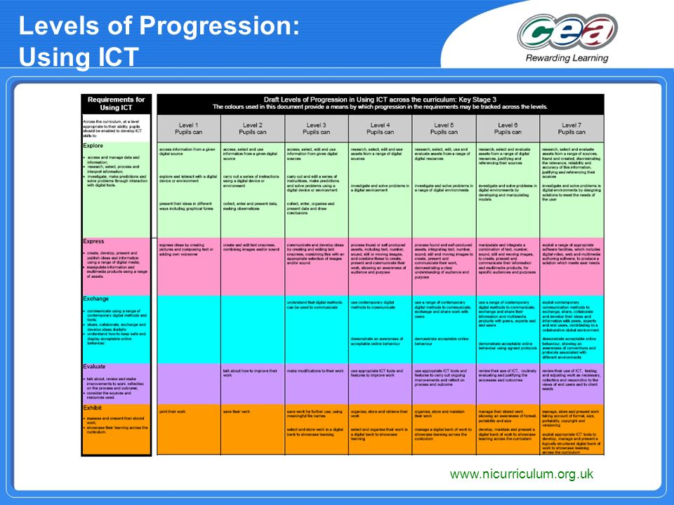 Levels of Progression: Using ICT